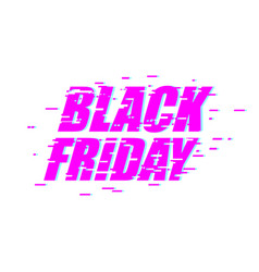 black friday glitch effect emblem website display vector image