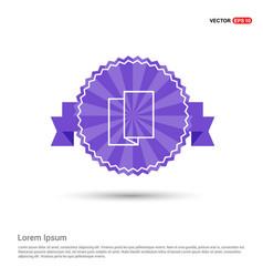 Brochure flyer icon - purple ribbon banner vector