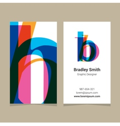 business card letter B vector image