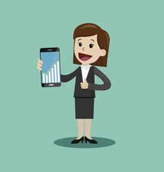 businesswoman hold a smartphone with chart graphs vector image