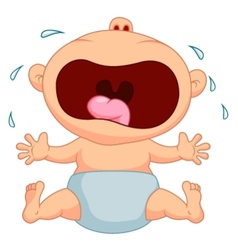 Cartoon baby boy crying vector image