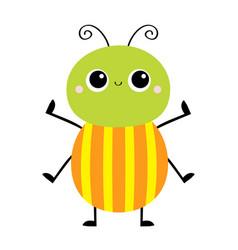 Cartoon beetle bug insect animal cute kawaii vector