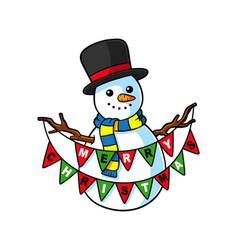 Cartoon snowman with buntings vector