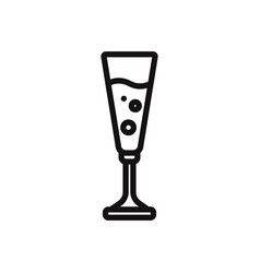 champagne in champagne glass icon vector image