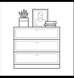 Chest of drawers flat icon vector