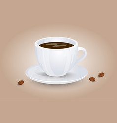 classic black coffee in a white cup and saucer vector image