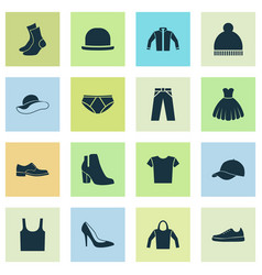 Clothes icons set collection of cardigan trilby vector