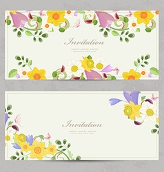 collection banners with border of spring flowers vector image