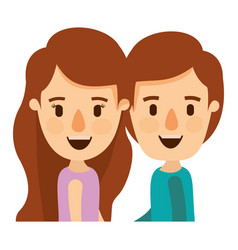 Colorful caricature side view half body couple vector