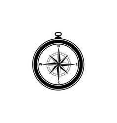 compass icon black on white background vector image