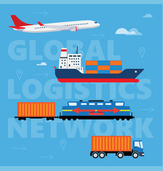 concept logistics or freight transportation in vector image
