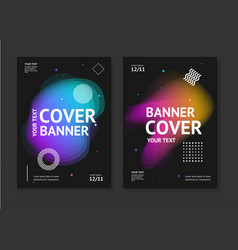 cover banner card set with abstract colorful vector image