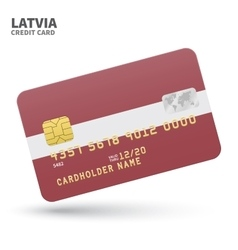 Credit card with Latvia flag background for bank vector