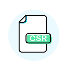 Csr file format extension color line icon vector