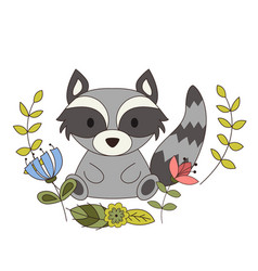 Cute animal in cartoon style woodland raccoon vector