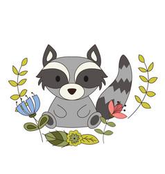 cute animal in cartoon style woodland raccoon vector image