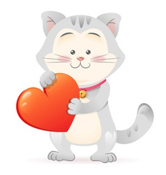 Cute toy Cat pet isolated holding heart vector