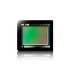 Digital camera sensor with reflection on white vector