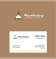 dish logo design with business card template vector image