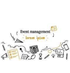 event management concept sketch doodle horizontal vector image