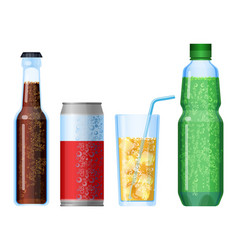 fizzy drinks beverage with bubbles set plastic vector image