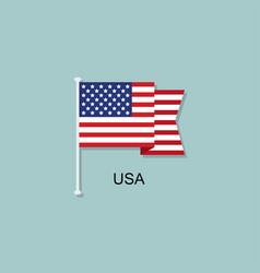 flag usa abstract flat design icon vector image