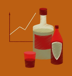 Flat shading style icon alcohol infographic vector