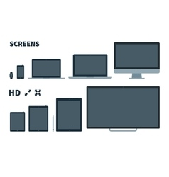Flat TV screen phone monitor laptop tablet and vector image