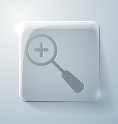 Glass square icon magnifier increase vector