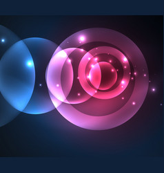 Glowing shiny overlapping circles composition on vector