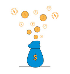 gold coins flying out of blue bag with dollar icon vector image