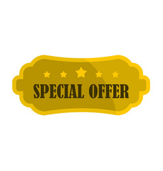 golden special offer label icon flat style vector image