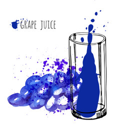 Grape juice in glass and grapevine vector