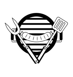 grill barbecue sausage fork and spatula vector image