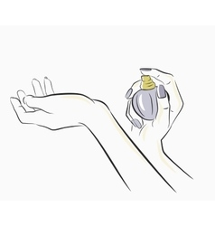 Hands spraying perfume vector