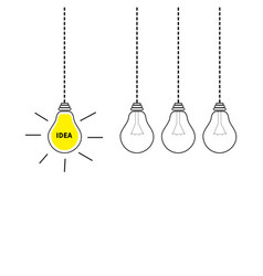 hanging light bulb icon set perpetual motion vector image