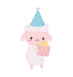 happy birthday cute sheep with party hat and gift vector image