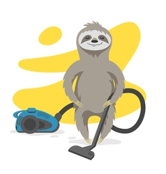 Happy cute sloth that makes cleaning with a vacuum vector