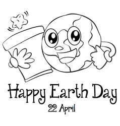 Happy earth day design hand draw vector