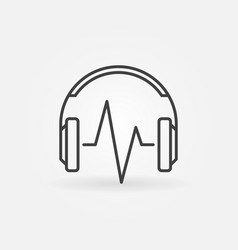 headphone with music wave linear icon vector image