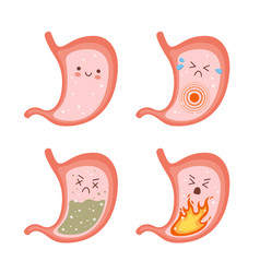 Healthy stomach and sick stomach characters vector