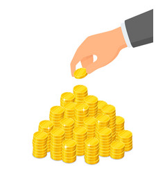 Heap coins and a hand that puts a coin on top vector