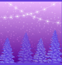 holiday winter landscape with fir trees forest vector image