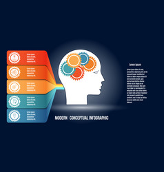 Infographic with gears in men head and colorfull vector