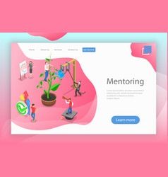 Isometric flat landing page mentoring vector