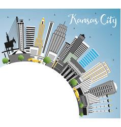 Kansas city missouri skyline with color buildings vector