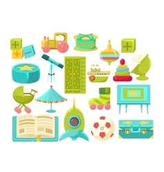 Kids Room Interior Elements Set vector