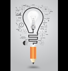 Light bulb with icons modern business and pencil vector image