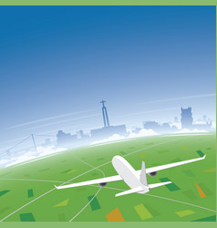 lisbon skyline flight destination vector image