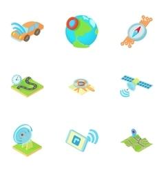 Location icons set cartoon style vector